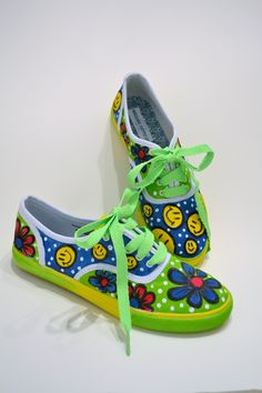 Custom painted shoes for Katie. Katie loves smile faces and flowers.