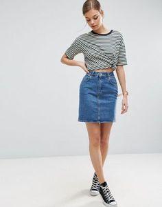 ASOS | ASOS Denim Original High Waisted Skirt in Mid Wash Blue