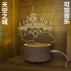 3D立体LED木质现代台灯创意时尚卧室床头小夜灯生日礼物天空之城