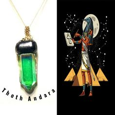 Thoth Andara Pendant with Anubis Nuummite. Gain Access To The Doors OF Amenti. Sacred Knowledge, Self Mastery and Wisdom, Crystals #825 by AngelsCrystalAlchemy on Etsy
