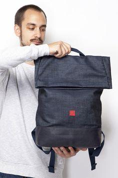 UCON ACROBATICS - KATO BACKPACK #blue #denim #backpack #bag #uconacrobatics #berlin Denim Backpack, Kato, Metal Buckles, Blue Denim, Berlin, Backpacks, Leather, Men, Accessories