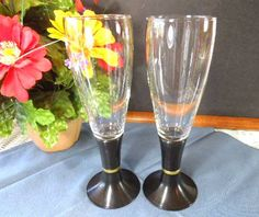 David Douglas After Hours Champagne Flutes Clear Glass and