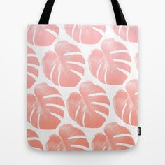 TROPICAL ROSEQUARTZ Tote Bag #totebag #totes #tote #beachbag #beachwear #beach accessory #summeraccessory #tropical #palmleaf #monstera #trend #trending #trendy #girl #summer2016 #rosequartz
