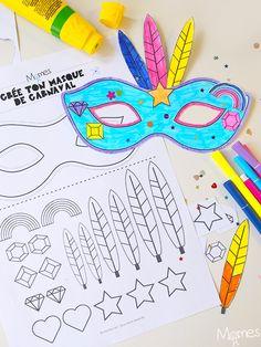 Kit pour faire un masque de carnaval - Geschenk Valentinstag Mann Carnival Crafts, Carnival Decorations, Carnival Games, Projects For Kids, Diy For Kids, Crafts For Kids, Mask For Kids, Activities For Kids, Carnival Dress