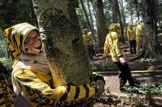 """Jakarta, Indonesia — Activists from the environment action group Greenpeace, wearing suits bearing the colors and pattern of the endangered Sumatran tiger, gather in a compound of Indonesia's Forest Ministry in Jakarta in a symbolic protest for """"homeless Sumatran tigers."""" In related news, Greenpeace issued a statement declaring that they've become a parody of themselves."""