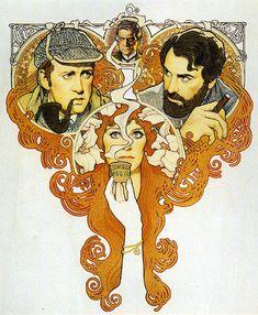 """Elemental, Dr. Freud"", otro magnífico poster de Richard Amsel que utiliza la estética modernista de manera adecuada, ya que la historia transcurre en la Viena del siglo XIX."
