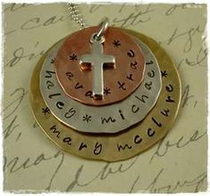 Hand Stamped Jewelry Necklace - Moms, Grandmas, Mixed Metals Family ...