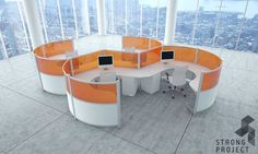 Curved Collaborative Workstations - Futuristic Office Furniture