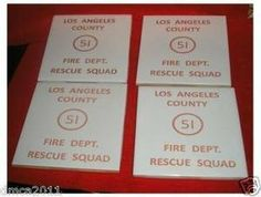 La County Emergency Squad 51 Fire Dept Tile Coaster Bar Set by TEP CERAMICS - MADE IN  USA. $12.50. LA County emergency 51 Fire Dept  Tile Coaster Set  Neat tile coasters measure 4.25 square  and come with thin foam on the bottom.  Ceramic Kiln fired to over 1800 degrees to last a lifetime  Excellent for any fire fighter themed home or Bar.  KMG 365