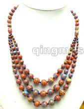 """Nobre longo 20 """" Big 4 a 12 mm Red zebra stripe ágata 3 cordas Necklace-nec5692(China (Mainland))"""