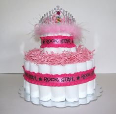 Rock Star Princess Diaper Cake by JennyJsDiaperCakes on Etsy, $40.00