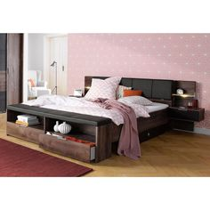 Lit 2 personnes multi rangements helsinki en pin massif avec sommier et panie - Tete de lit avec chevets integres ...