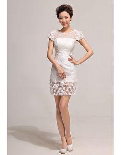 informal designer sheath lace short sleeves short petite dress for summer beach wedding, sheath, column wedding dresses