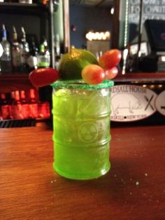 Mutagen (Teenage Mutant Ninja Turtles cocktail)    Ingredients:  1.5 oz Pineapple Rum  0.5 oz Midori  2oz aloe Mango Drink  1 Bag of Green Pop Rocks