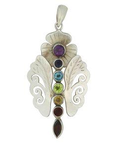 Amazon.com: Sterling Silver Chakra Gemstone Butterfly Pendant: Jewelry