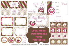 A full set of FREE owl birthday party printables perfect for any little (or big) girl's big day!