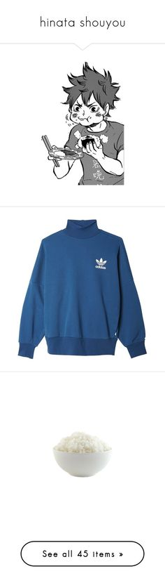 """hinata shouyou"" by citixen ❤ liked on Polyvore featuring haikyuu, tops, hoodies, sweatshirts, sweaters, adidas, jumper, blue sweatshirt, adidas originals and steelers sweatshirt"