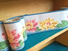 Fabulous 1949's vintage wallpaper trim, Trimz wallpaper boarders,  home decor, rich pastels look like water color painted water lillies, by TwoSwansSwimming on Etsy
