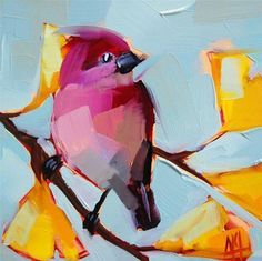 """Purple Finch and Gingko Leaves Painting"" - Original Fine Art for Sale - © Angela Moulton"