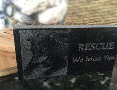 Pet memorial laser engraved on granite natural stone