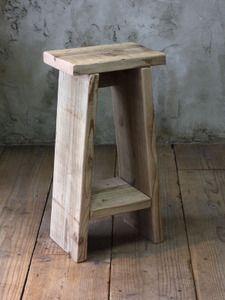 OLD ASHIBA(足場板古材)踏み台スツール(飾り棚付き) 高さ600mm 無塗装