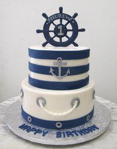 Nautical Birthday Cakes, Nautical Cake, Baby Birthday Cakes, Beautiful Cakes, Amazing Cakes, Sailor Birthday, Anchor Birthday, Sailor Cake, Anchor Cakes