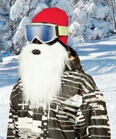 NEW STYLE Beardski SANTA Neoprene Snowboarding SNOW WHITE Ski Snowboarding Mask #Beardski