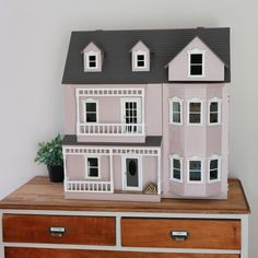 This Handmade Dollhouse Will Blow Your Mind - Front + Main Pink Dollhouse, Wooden Dollhouse, Dollhouse Dolls, Dollhouse Furniture, Dollhouse Miniatures, Victorian Dollhouse, Miniature Houses, Miniature Dolls, Fairy Houses