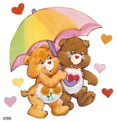 Care Bears: Friend Bear and Tenderheart Under an Umbrella
