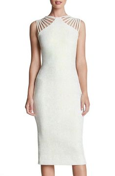 Dress the Population 'Gwen' Foiled Knit Midi Dress