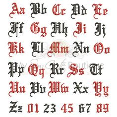 Old English Embroidery Fonts Machine Designs Gothic Monogram