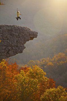 The Sunrise Leap - jumping for joy, Hawksbill Crag-Whitaker Point, Upper Buffalo Wilderness, Arkansas