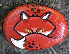 Fox Rock Painting ~ Painted Stone from HuckleberryArtz