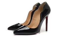 Christian Louboutin 12CM Black Patent Leather Wavy pointed Pumps