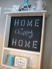 Chipping with Charm: Kitchen Drawer to Chalkboard Shelf...