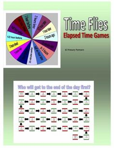 Students calculate elapsed time in 2 different game formats - spinners and/or game boards. Select the elapsed time spinner/game board that supports your curriculum or your students' abiliities.