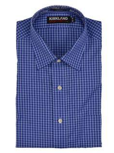 Kirkland Signature Mens Dress Shirt Slim Fit Non Iron Blue / Black Plaid  NEW #KirklandSignature #DressShirt