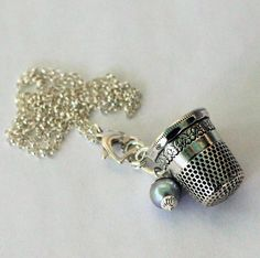 Thimble and Acorn Necklace Peter Pan and Wendy Kisses Solid Sterling Silver and Freshwater Pearl by HooliganAlley on Etsy
