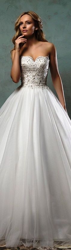 Amelia Sposa 2016 wedding dress strapless scallop sweetheart neckline beaded bodice tulle beautiful ball gown dress giselle