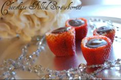 Chocolate Filled Strawberries..Perfect for Valentine's Day!
