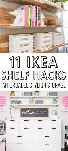 IKEA Shelf Hacks: Cheap Stylish Storage Solutions IKEA SHELF HACKS: Whether you have EKBY, KALLAX, LACK, or BERSHULT brackets and shelves, this post has ideas for customizing them into something unique and creating the perfect storage to organize your hom Ikea Lack Wall Shelf, Ikea Shelf Hack, Ikea Hack Storage, Ikea Shelving Unit, Kitchen Storage Units, Ikea Shelves, Ikea Hacks, Hacks Diy, Ikea Ekby