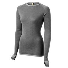 Merino Base Layer Cycling Top In Charcoal and Grey Marl Stripes | FINDRA