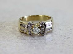 14k Yellow Gold 0.60ct Diamond Engagement Ring with Baguettes