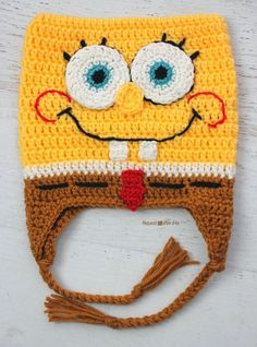 Who lives in a pineapple under the sea?! Yep, it's your favorite square sponge named Bob! My son has been begging me for this hat and since I mastered the technique of crocheting a square hat (thanks to my Robot pattern), I had to get Mr. Squarepants on my hook immediately Materials: – Worsted Weight …