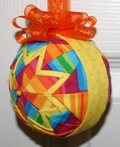 Rainbow Stripes fabric quilted ornament ball by WreathsByKari, $10.00