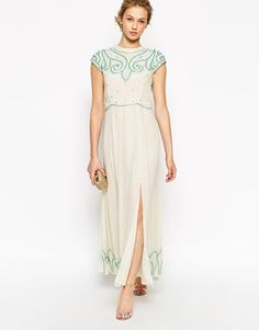 Aumentar Frock and Frill Maxi Dress With Baroque Embellishment