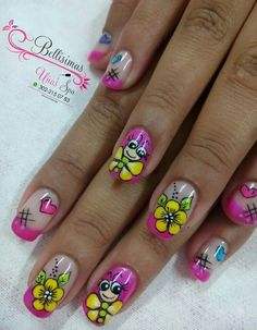 Our social Trends Fall Nail Art Designs, Flower Nail Designs, Diy Nail Designs, Red Nail Art, Cute Nail Art, Pink Nails, Butterfly Nail Art, Bridal Nail Art, Summer Toe Nails