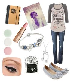 """Good Vibes with Music"" by lhsbonez ❤ liked on Polyvore featuring CAbi, maurices, Accessorize, Pandora, Allurez, LORAC, Charlotte Tilbury, Nails Inc. and Music Notes"
