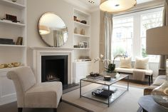 Mirror Over Fireplace - Contemporary - living room - Laura Hammett Chic Living Room, Living Room Interior, Home And Living, Living Room Decor, Living Rooms, London Living Room, Simple Living, Mirror Over Fireplace, White Fireplace