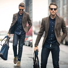 Printed shirt with textured blazer